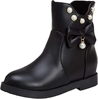 VulusValas Women Height Increase Ankle Boots Bowknot