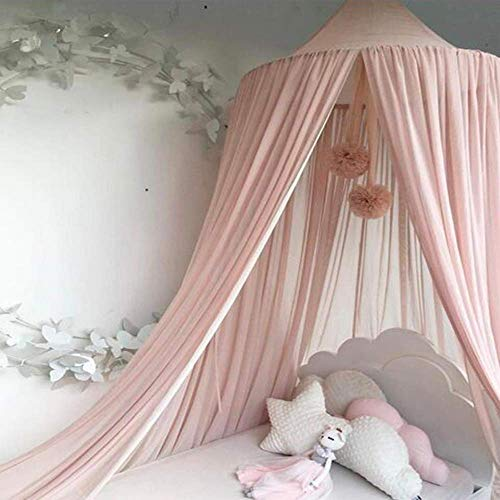 [AUS DE VERSANDT] Baldachin Baby, Dyna-Living Babybett Betthimmel Mädchen Moskitonetz Kinder Bed Canopy Dreieck Spitze Chiffon Bettüberdachung für Babybett Kinderbett Twin-Size-Bett (Rosa)