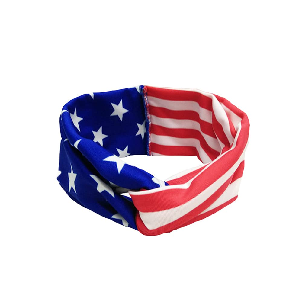 4th of July Baby Headband American Flag Star Stripe Bow Hairband Toddler Kids Girls Independence Day Headwear (Cross)