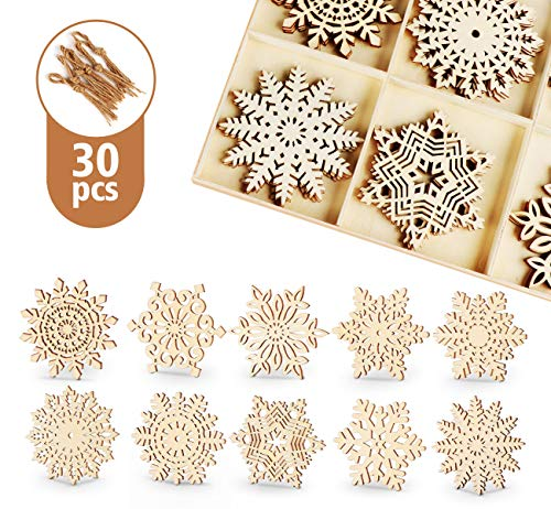 ilauke 30pcs Wooden Snowflakes Ornaments 4 inch Wood Hanging Decorations Rustic Christmas Tree Crafts