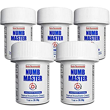 Numb Master 5 Pack 5% Lidocaine Topical Numbing Cream Maximum Strength Long-Lasting Pain Relief Fast Acting Topical Anesthetic Cream with Aloe Vera Vitamin E Lecithin with Child Resistant Cap