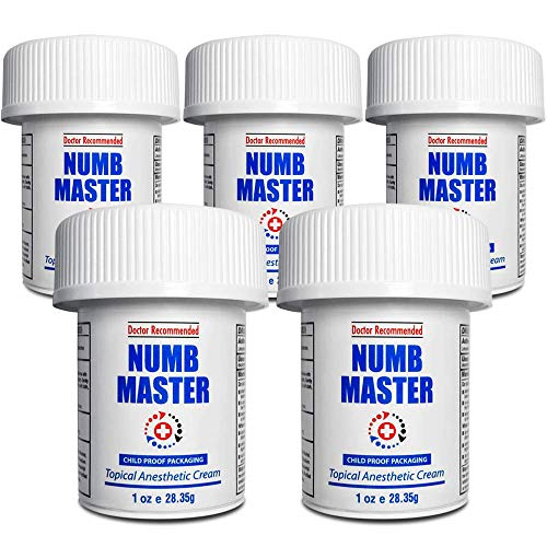 Numb Master 5 Pack 5% Lidocaine Topical Numbing Cream, Maximum Strength Long-Lasting Pain Relief, Fast Acting Topical Anesthetic Cream with Aloe Vera, Vitamin E, Lecithin with Child Resistant Cap