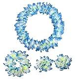 Frmarche Guirnalda Hawaiana de Flores Tropical Collar Coronas Coloridas de Hawaiana para Fiesta Luau Playa Fiesta Decoraciones (Azul)