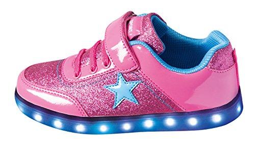 ZAPATO EUROPE Mädchen LED Sneaker Blinkschuhe Leuchtschuhe Farbwechsel 7 Farben USB Kabel Klettverschluss Gr.31–33 PINK Star (32)