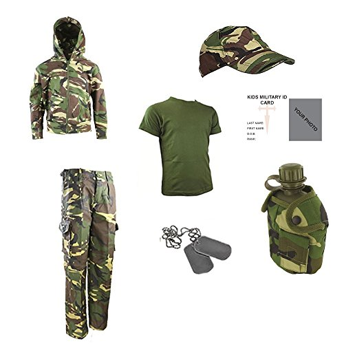 Kinder Pack Z Hose, T-Shirt, GAP, Dog Tags, Kapuze, Wasser Flasche & Freie Kontakt links Kinder Army/Military ID Card. – DPM