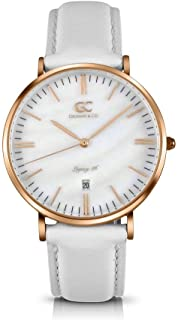 Gelfand & Co. Women's Minimalist Watch White Leather Spring 36mm Silver with Pearl Dial