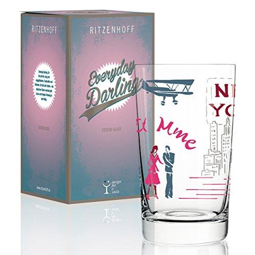 RITZENHOFF Everyday Darling Softdrinkglas von Dominique Tage, aus Kristallglas, 300 ml, mit trendigen Dekoren