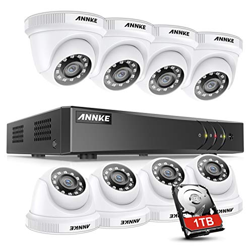 ANNKE Kit de Videovigilancia 8CH DVR 5MP Lite H.265+ con 1TB Disco Duro de Vigilancia + CCTV 8 Cámaras 1080P Sistema de Seguridad IP66 Impermeable Visión Nocturna -1TB HDD