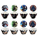 12pc Star wars Cupcake Topper and Cupcake Wrapper Picks for Kid's Birthday Party Decoration Supplies