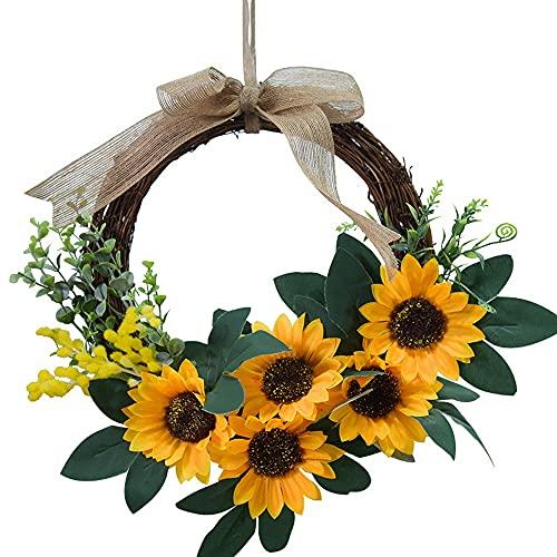 Natürliche Girlanden Haustür Kränze, Künstliche Sonnenblume Hängen Kranz Für Home Party Indoor Outdoor Fenster Wand Hochzeit Dekoration2 Stücke