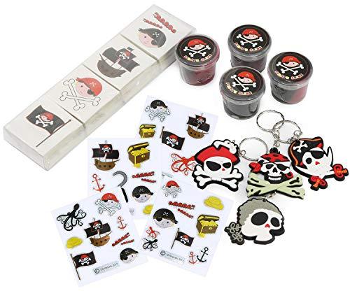 COM-FOUR® 300-delige weggeefset piraat, geweldige relatiegeschenken en leuke goodies, kleurrijke piratenfeestaccessoires (Party giveaways - 300 stuks - f. 4 kinderen)