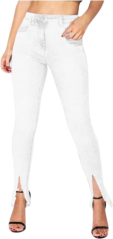 FUNEY Women Bell Bottom Jeans Plus Size Classic High Waisted Patchwork Destroyed Split Hem Flared Jean Skinny Denim Pants
