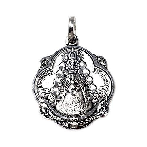 Colgante Plata Ley 925M Medalla 32mm. Virgen Del Rocío Maciza Pandereta Detalles Tallados - Personalizable - Grabación Incluida En El Precio