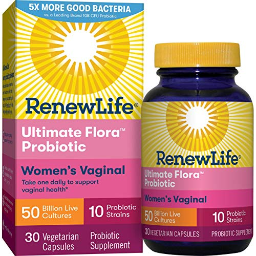Renew Life Women's Probiotics 50 Billion CFU Guaranteed, 10 Strains, Shelf Stable, Gluten Dairy & Soy Free, 30 Capsules,  Ultimate Flora Women's Vaginal