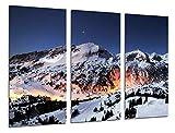Cuadros Camara Poster Fotográfico Paisaje Montaña Atardecer Nevado Tamaño total: 97 x 62 cm XXL, Multicolor