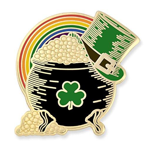 PinMart Pot of Gold Irish Top Hat Rainbow St. Patricks Day Enamel Lapel Pin