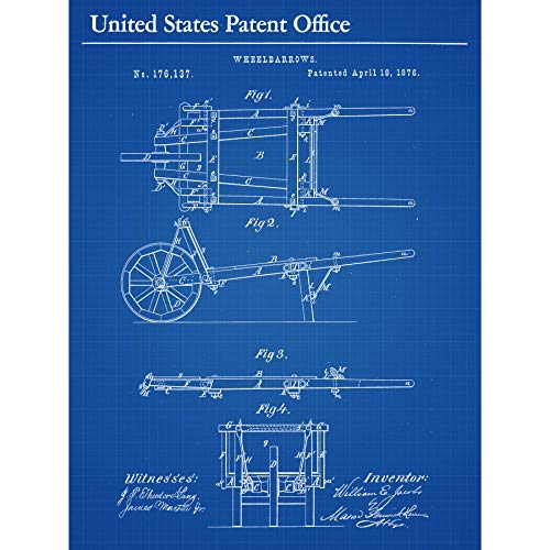 Jacobs Wheelbarrows 1876 Patent Plan Large XL Wall Art Canvas Print