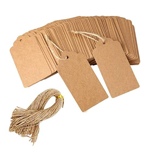 100 etiquetas de regalo de papel Kraft con 100 pies de cuerda de yute natural para bodas, rectangulares, color marrón