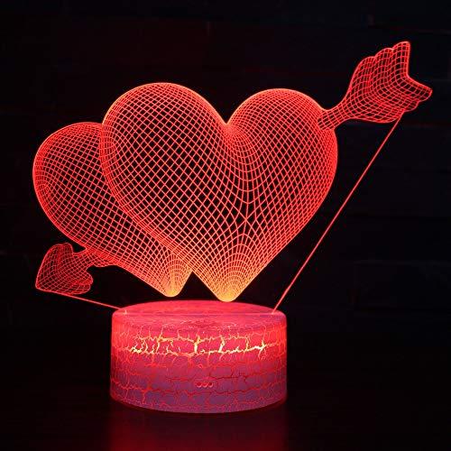 LED-Nachtlicht,Nachtlicht mit 7-farbigem Nachtlicht,Pfeil durch die Liebe Pattern,baby,Kinder,Geburtstagsgeschenk,Nachttischlampe,Tischlampe,Kinderzimmer,Weihnachtsgeschenk