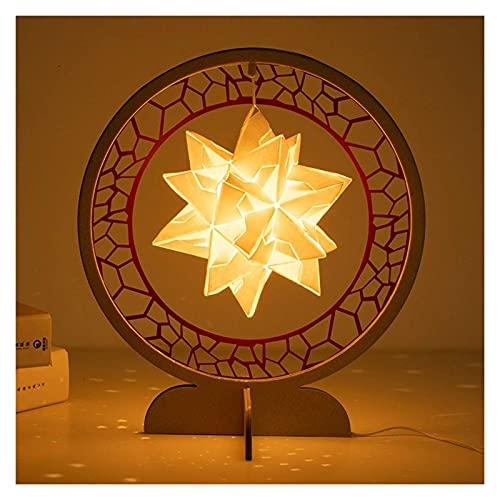nakw88 Lámpara de Escultura de Papel de iluminación Material de Bricolaje/Luz Nocturna Creativa de Origami/Regalos culturales y creativos Lámpara de Mesa (Color : Beige)