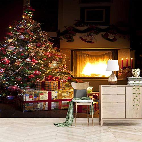 Fotobehang Kerstmis Open haard muur muurschildering 3D niet-geweven moderne huisdecoratie voor slaapkamer badkamer 250x175cm