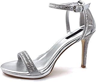 Angkorly - Chaussure Mode Escarpin Sandale Sexy Stiletto Ouverte Femme lanière Strass Diamant Talon Haut Aiguille 10 CM