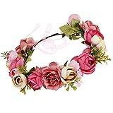 Cinta para el pelo con flores, 1 unidad, elegante corona de flores, corona de flores, corona de pelo de corona con banda elástica para boda y fiesta, cinta para el pelo para mujeres y niñas