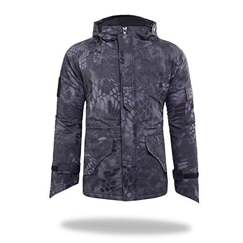 Hommes Multi Fonctionnel de Chasse en Plein air Camping Coats Soft Shell Camouflage Polaire épaisse intérieur Veste à Capuche Horseshoe Poignets (Noir Python, XXL)