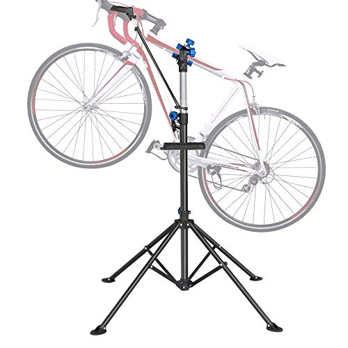 DoCred Bike Repair Stand, Foldable Maintenance Rack Height Adjustble Extensible Bike Repair Rack Mechanic Bicycle Bikes Maintenance Rack Workstand for Road & Mountain Bikes