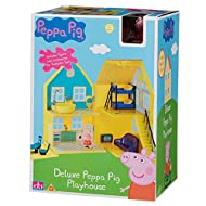 Interact with Peppa Pig with this large Deluxe Playhouse & Accessory playset. Peppa is a loveable, cheeky little piggy whose adventures always end happily with loud snorts of laughter. Contains: Deluxe Playhouse, Peppa Pig Figure and various accesori...