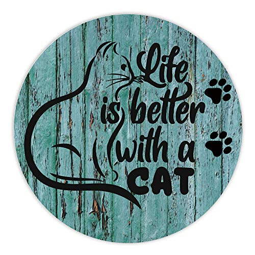 AGMdesign, Life is Better with a Cat Mouse Pad, Cute Cat Mouse Pad, Round Gaming Mouse Pad, Desk Accessories, Coworker Gifts, Non-Slip, Waterproof, Stitched Edges, 7.87 x 7.87 x 0.12 Inch
