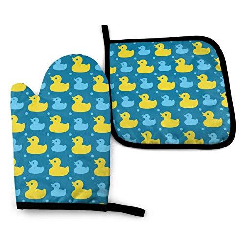 Gelbe Gummi-Enten Ofenhandschuhe und Topflappen BBQ Home & Kitchen Handschuhe, rutschfeste Kochhandschuhe, bequem, hitzebeständig zum Kochen, Backen, Grillen