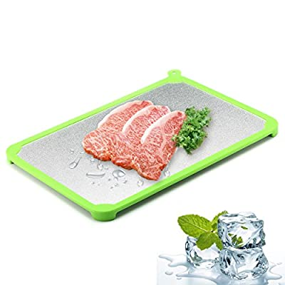 Fishonly Fast Metal Thawing and Defrosting Tray with Silicone Edge