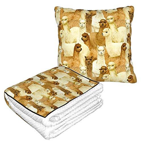 Lsjuee Alpaca 2 in 1 Überwurfdecke, leichtes, strapazierfähiges Decken-Reisekissen