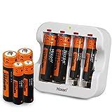 Hixon Pilas Recargables AA y AAA de 1,5 V y Cargador, Paquete de 4 Pilas de Iones de Litio AA de 3500 mWh, Paquete de 4 Pilas AAA de 1100 mWh con Carga rápida