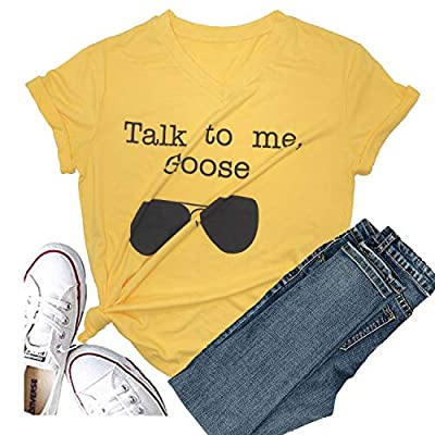 Hellopopgo Women Talk to Me Goose Sunglasses Short Sleeve Graphic Tees Print Funny T Shirts Cute Casual Summer Tops