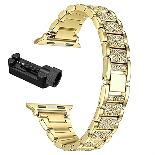 TRSX Reloj Correa 40mm 44mm 38mm 42mm Mujer Strap de Acero Inoxidable para 6 SE 5 4 3 2 (Band Color : Gold, Band Width : 44mm)