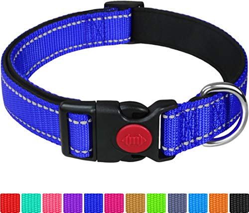 Taglory Hundehalsband, Weich Gepolstertes Neopren Nylon Hunde Halsband für Große Hunde, Verstellbare und Reflektierend für das Training, Dunkelblau