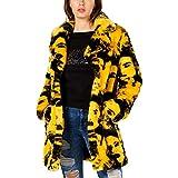 Guess Pia - Cappotto invernale da donna, in pelliccia sintetica - Giallo - S