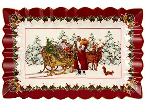Villeroy & Boch Toys Fantasy Kuchenplatte eckig, Santa mit Schlitten, Premium Porcelain, weiß, 35 x 23 x 3,5 cm