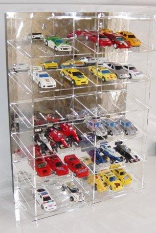 Unbekannt Sammelvitrine aus Acrylglas für 36 Slot Cars 1:43 Rückwand Spiegel