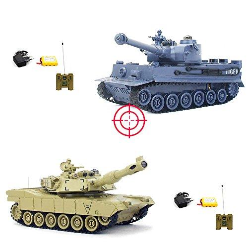 HSP Himoto GERMAN TIGER I vs M1A2 ABRAMS - Mega Battle-Set: 2 x RC ferngesteuerter Panzer mit integriertem INFRAFOT KAMPFSYSTEM, Schusssimulation, Sound und Beleuchtung,KOMPLETT-SET