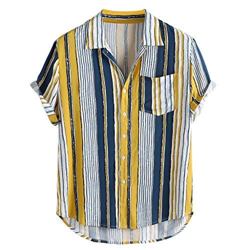 Mens Regular-fit Short-Sleeve Shirt Button-Down Stylish Hawaiian Poplin T Shirt Summer Casual Tee Tops