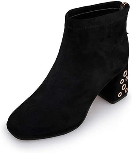Bloque De Gamuza para mujer zapatos De Tacón Alto Volver Cremallera Botines Ropa De Trabajo Vestido De Fiesta Boda botas Cortas zapatos En negro Beige,negro-EU 39 UK 6.5