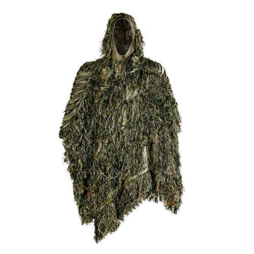 Auscamotek Ghillie Suit Poncho for Hunting Bird Watch Gilly Camouflage Cloak Green