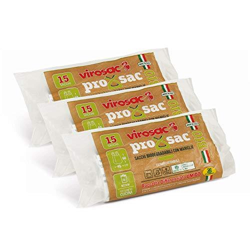 VIROSAC Sacchetti Per Rifiuti Biodegradabili Con Bretelle Color Neutro 90 Gr