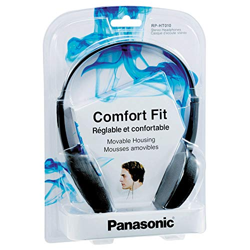 Panasonic RP-HT010E-A Bügelkopfhörer (1,2m Kabellänge) blau & Goobay 50090 Kopfhörer- und Audio Verlängerungskabel AUX; 3-polig; 3,5 mm Klinke 3,5 mm Stecker auf Klinke 3,5 mm Buchse, Schwarz, 5 Meter