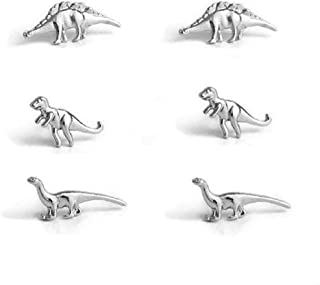 3 Pairs/Set Charm Post Stud Earrings Jurassic Park Animal T-Rex Dinosaur Metal Stud Earring Wedding Engagement Jewelry Earrings for Women Men
