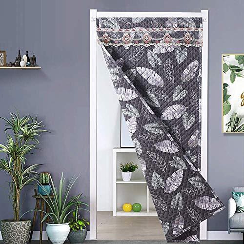 SLM-max Starke warme Baumwolle Vorhang, Haushalt Windsicher Partition Vorhang, können beide Seiten Gebraucht-Herbst und Winter-Eindickung-Blatt-Art,140×220cm