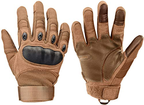 Xnuoyo Gomma Dura Knuckle Full Finger e Mezza Finger Gloves Guanti Touch Screen Guanti per Moto Ciclismo Caccia Arrampicata Camping (Marrone, Medium)